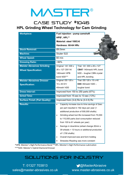 Master Case Study 1046 (HPL Grinding Wheel Technology for Cam Grinding)