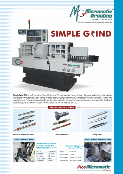 Micromatic Simple Grind Cylindrical Grinding Machine Flyer